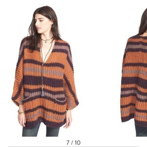 Free People Fall stripe sweater with pockets XS